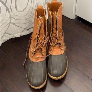 "L.L. Bean Duck Boots 8"" tan/brown"